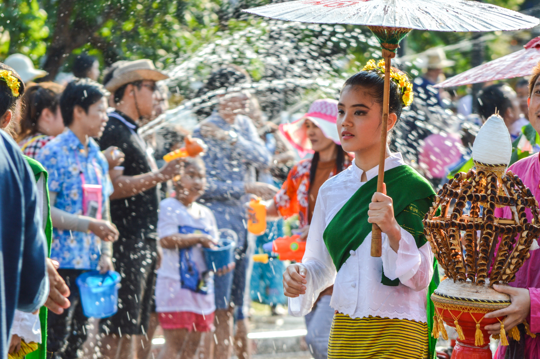 The Songkran festival parade. Songkran is the holiday known for its water festival.